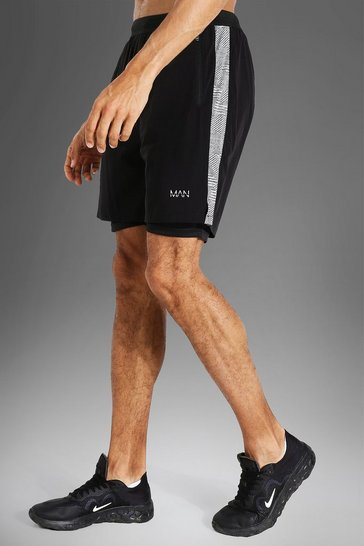 Black Tall Man Active Lightweight Short With Patter