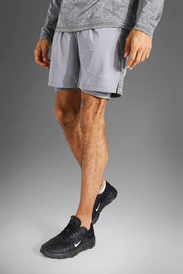 Grey Tall Man Active Lightweight Short With Patter