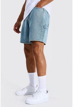 Antique blue Relaxed Fit Worker Denim Short