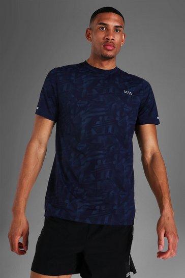 Navy Tall Man Active Abstract Print T-shirt