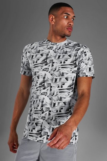 Grey Tall Man Active Abstract Print T-shirt