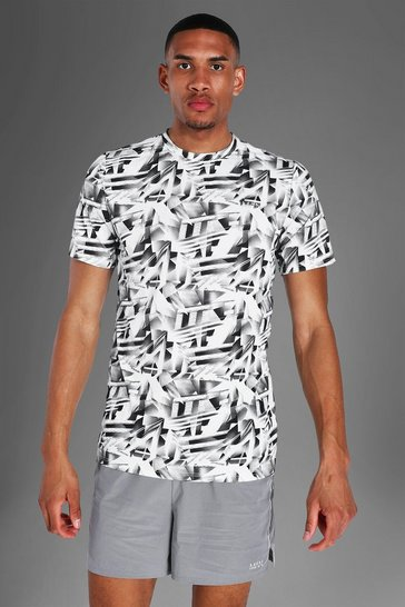 White Tall Man Active Abstract Print T-shirt
