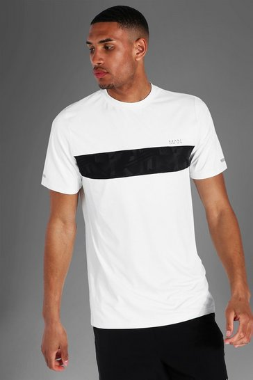 White Tall Man Active Abstract Panel T-shirt