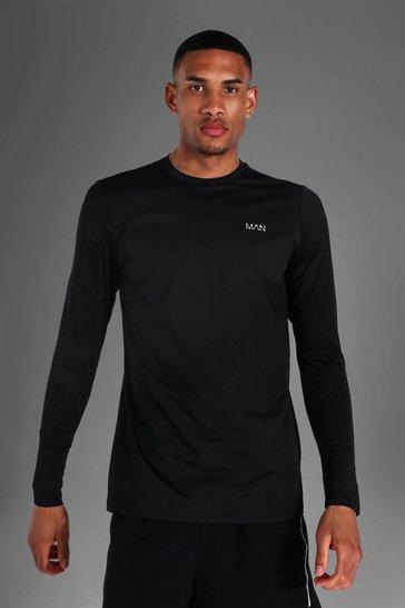 Black Tall Man Active Abstract Long Sleeve Top