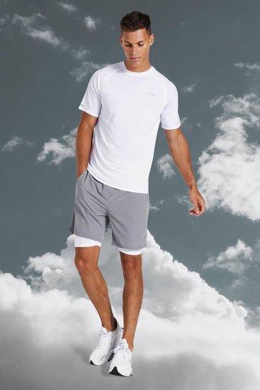 White Tall Active Lightweight Contrast Short Set