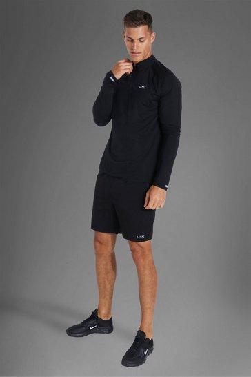 Black Tall Active Lightweight 1/4 Zip Short Set
