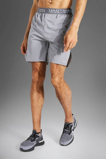 Grey Tall Man Active Side Split 2 In 1 Boxing Shor