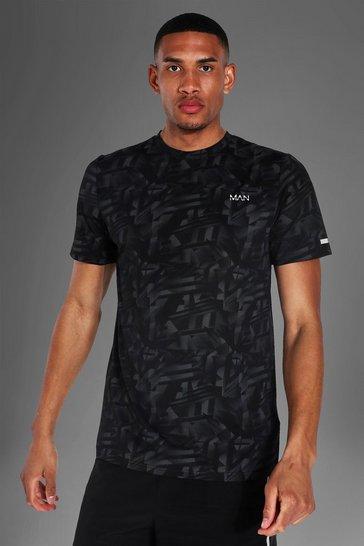 Black Tall Man Active Abstract Print T-shirt