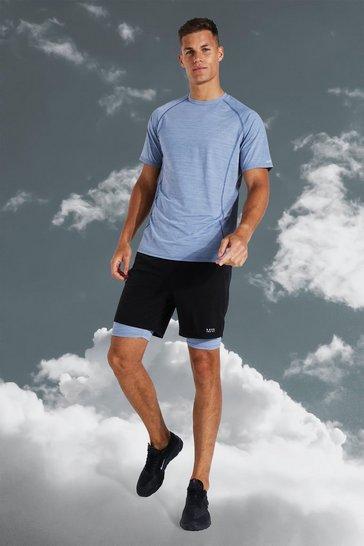 Grey Tall Active Lightweight Contrast Short Set