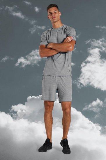 Grey Tall Active Lightweight Marl Short Set