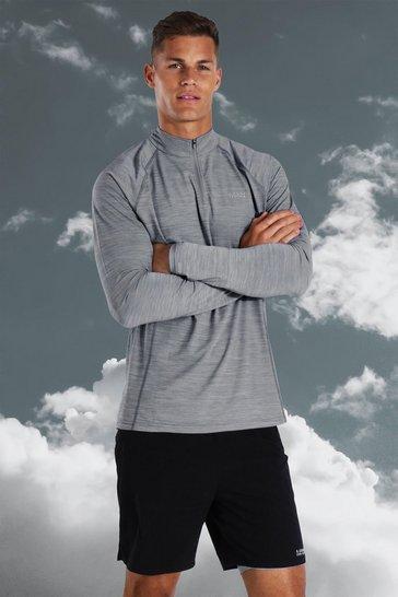 Grey Tall Active Lightweight 1/4 Zip Short Set