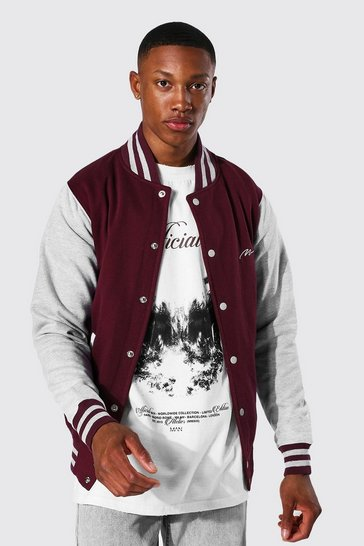 Burgundy red Man Signature Jersey Varsity Bomber Jacket