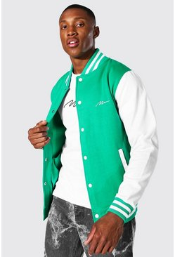 Green Man Signature Jersey Varsity Bomber Jacket