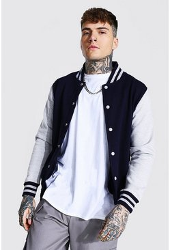 Jersey Varsity Bomber Jacket With Sports Rib, Navy azul marino