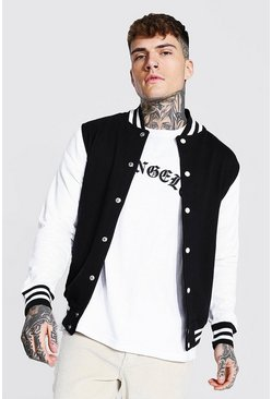 Black Jersey Varsity Bomber Jacket With Sports Rib