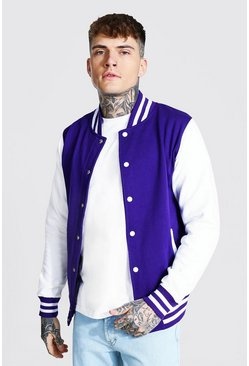 Jersey Varsity Bomber Jacket With Sports Rib, Purple morado