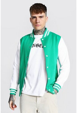 Green Jersey Varsity Bomber Jacket With Sports Rib