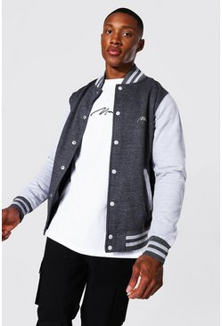 Charcoal grey Man Signature Jersey Varsity Bomber Jacket