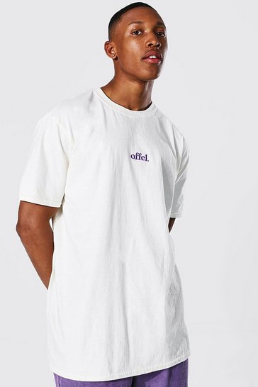 Ecru white Oversized Offcl T-shirt