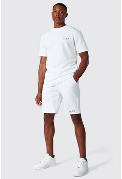 White Man Jacquard T-shirt & Short Set