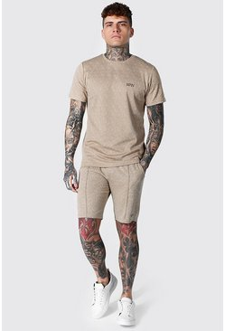 Stone beige Man Jacquard T-shirt & Short Set