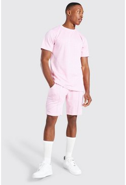 Pink Jacquard Dogtooth T-shirt & Short Set