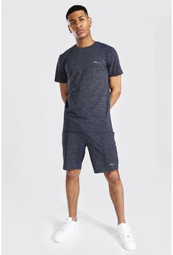 Navy Man Jacquard Stripe T-shirt & Short Set