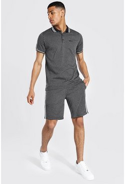 Black Man Jacquard Polo And Short Set With Tape