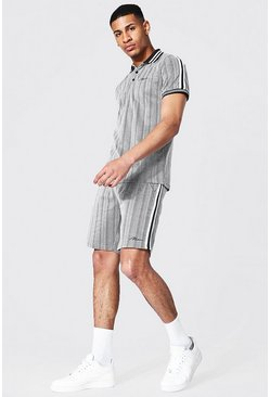 Grey Man Jacquard Polo And Short Set With Tape