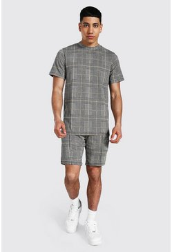 Jacquard Check T-shirt & Short Set, Mustard Жёлтый