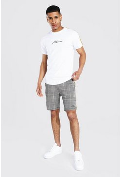 Man T-Shirt & Jacquard Shorts Set, Mustard gelb