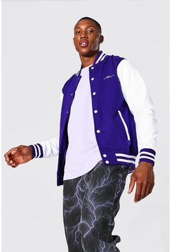 Man Signature Jersey Varsity Bomber Jacket, Purple morado