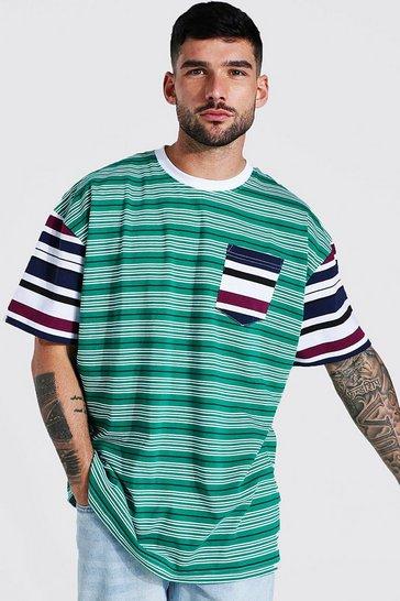 Green Oversized Spliced Stripe T-shirt