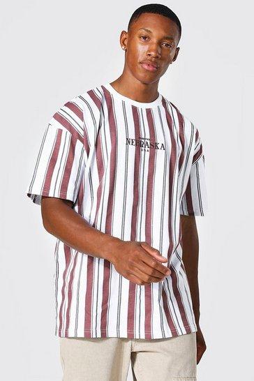 Brown Oversized Nebraska Stripe T-shirt