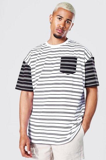 Black Oversized Spliced Stripe T-shirt