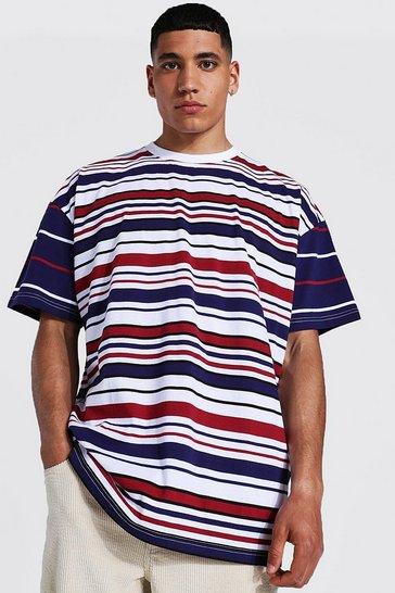 Navy Oversized Spliced Stripe T-shirt