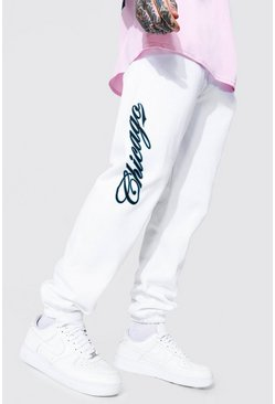 White Regular Fit Varsity Chicago Print Joggers