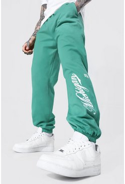 Regular Fit Varsity Michigan Print Joggers, Forest grün