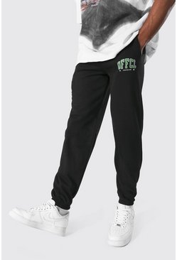 Black Regular Fit Varsity Official Graphic Jogger