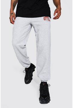 Grey marl grey Regular Fit Varsity Official Graphic Jogger