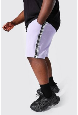 Lilac purple Plus Size Man Official Tape Mid Length Shorts