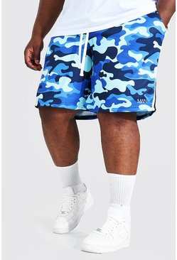 Plus Size Loose Original Man Camo Shorts, Blue azul