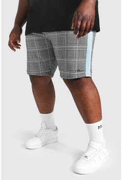 Pale blue blue Plus Size Man Tape Jacquard Jersey Short