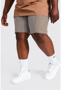 Brown Plus Size Man Sig Jacquard Pintuck Shorts