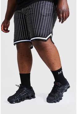 Black Plus Size Mesh Pinstripe Basketball Shorts