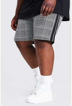 Grey Plus Size Check Jacquard Detail Shorts