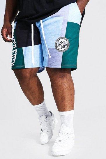 Grey Plus Size Patchwork Varsity Jersey Shorts