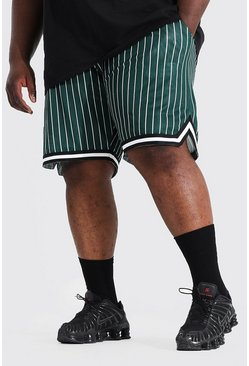 Green Plus Size Mesh Pinstripe Basketball Shorts