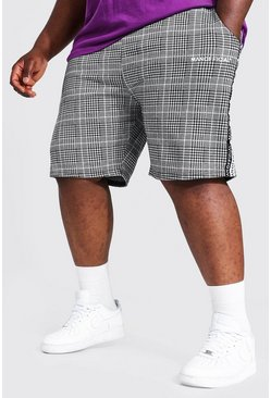 Black Plus Size Man Official Tape Jacquard Shorts