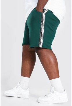 Bottle green Plus Size Man Tape Mid Length Shorts